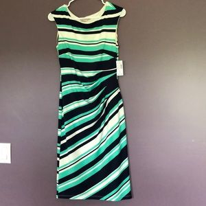 Navy blue, teal and white striped dress